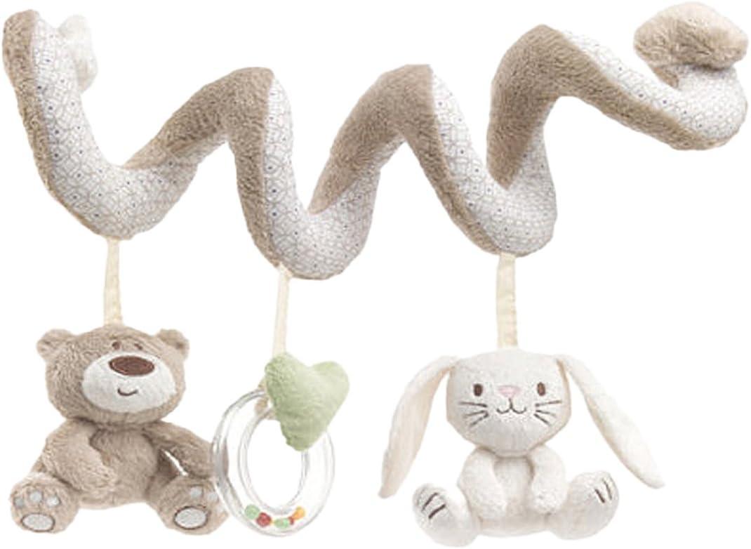 TININNA Bebé Juguetes Colgantes Espiral con Felpa Animales Bebe Oso para Cochecitos Cunas Veludillo para Bebés Recién Nacidos Niños Niñas Beige