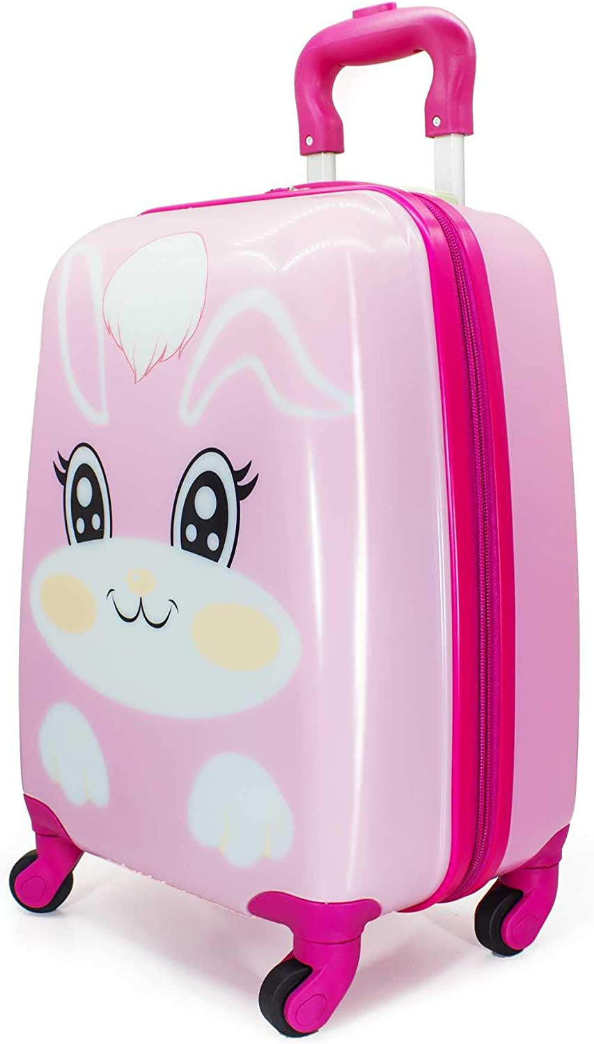 MOREFUN Kids Luggage Rolling Kids Carry on Luggage Spinner Butterfly Girls Travel Suitcase Hard Shell with Wheels