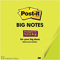 Post-it Super Sticky Big Notes, 11 in x 11 in, 1 Pad, 2X the Sticking Power, Neon Green (BN11G)