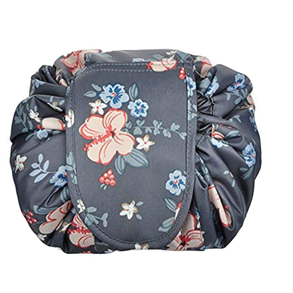 Ac.y.c Portable Drawstring Cosmetic Bag Large Lazy Fast Quick Pack Travel Makeup Pouch Toiletry Bag for Womens Girls (Dark Grey Flowers)