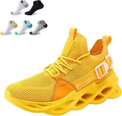 Zapatillas De Running Ligeras Para Hombre Zapatillas De Deporte Zapatillas De Deporte De Malla De Punto Casual Zapatillas De Deporte Transpirables De Alta Elasticidad Para Caminar,Amarillo,45EU: Amazon.es: Hogar