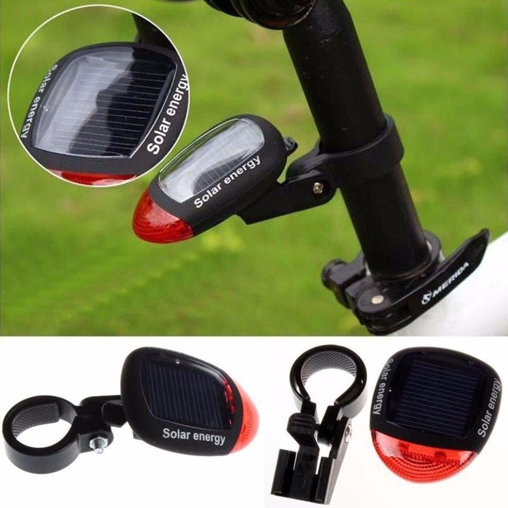 Solar Energy Bicycle Lamp Cast Power LED Rear Flashing Rear Light for Bicycle Mountain Bike Cycle Safety Warning Flashing Light Accessories