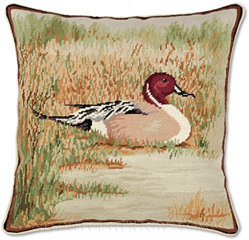 Duck Needlepoint - Handmade 100% Wool Decorative Needlepoint Hunting Pintail Duck Throw Pillow. 18