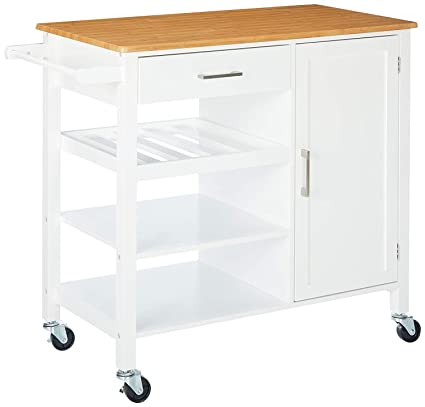 "Merax Kitchen Trolley Cart with Wheels Mobile Kitchen Trolley Island  Rolling Storage Cabinet with Drawers(White,37""LX 18""WX 34""H)"