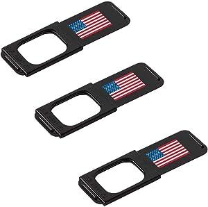 "C-Slide Webcam Cover 3 Pack - Thin Sliding Laptop Cam Blocker, USA Flag, 1.5"" x 0.5"" and 1.5mm Thick - Thin Cam Slide Blocker for Computer, Tablet, Dell, Lenovo, HP, Echo Show, iPad, Chromebook"