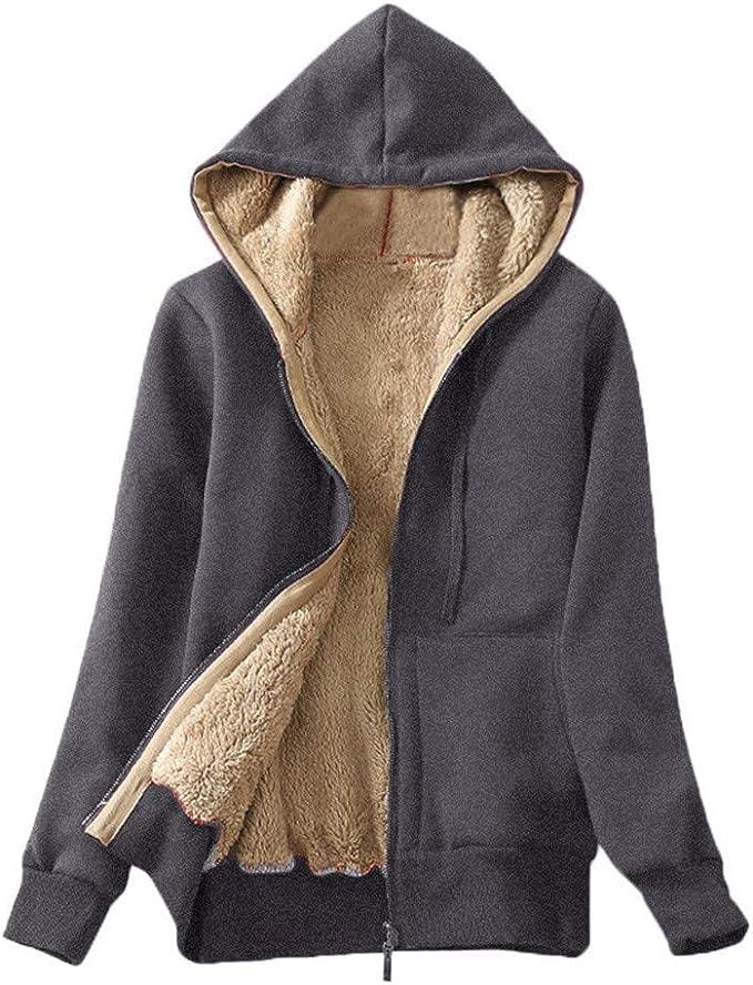 Jacket Coat Women Sweatshirt Warm Sherpa Fleece Lining Zipper Hooded Outerwear UK 8-14