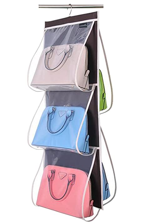 Misslo Hanging Closet Handbag Organizer Purse Holder, Clear (Coffee)