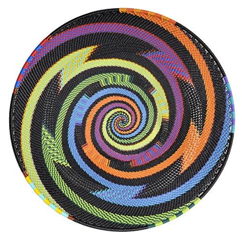 - Bridge for Africa Fair Trade Zulu Telephone Wire 12-inch Platter Basket, African Rainbow