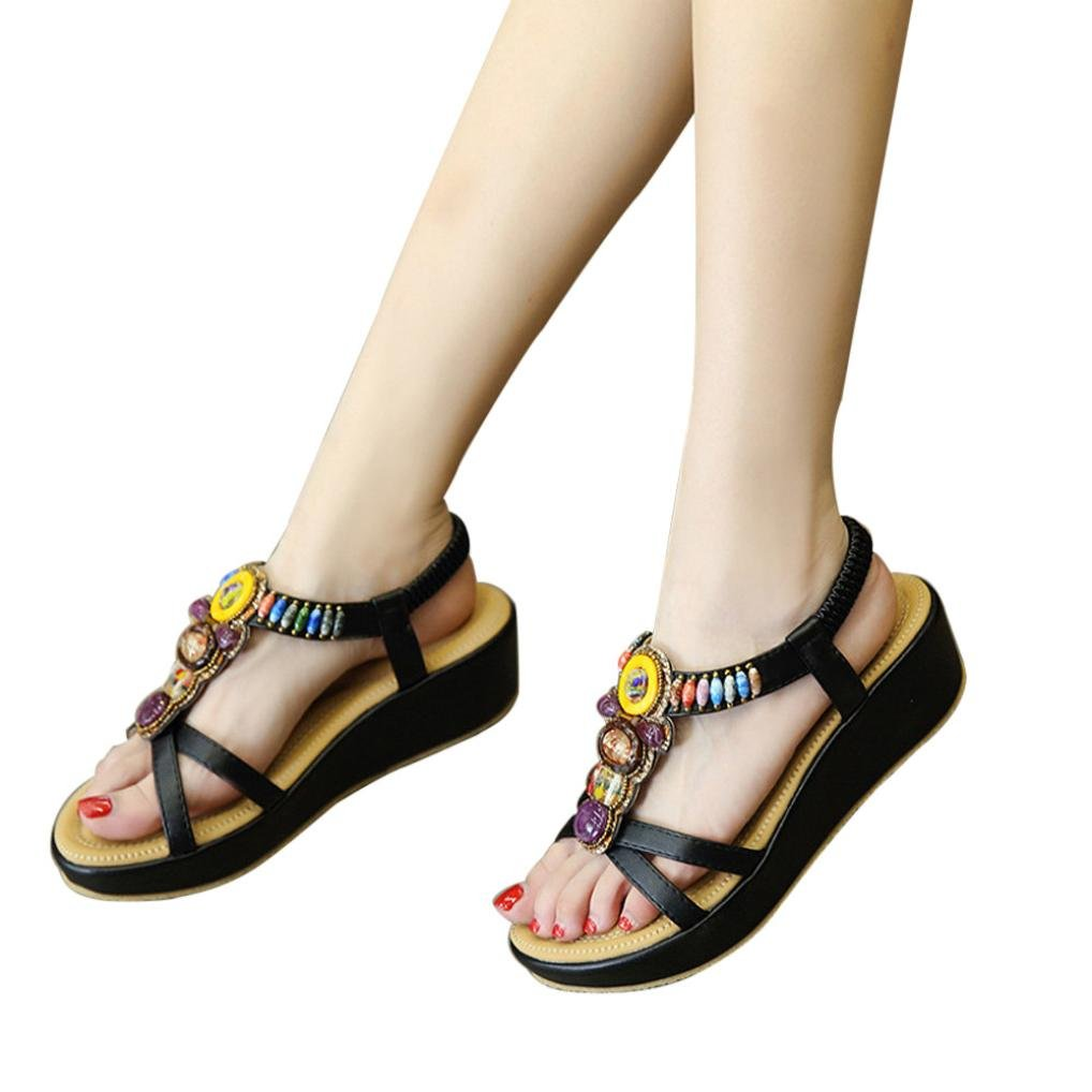 vermers Clearance Sale Fashion Women Sandals - Summer Bohemia Shoes Wedges Girl Bead Middle Heel Sandals(US:5, Black) by vermers
