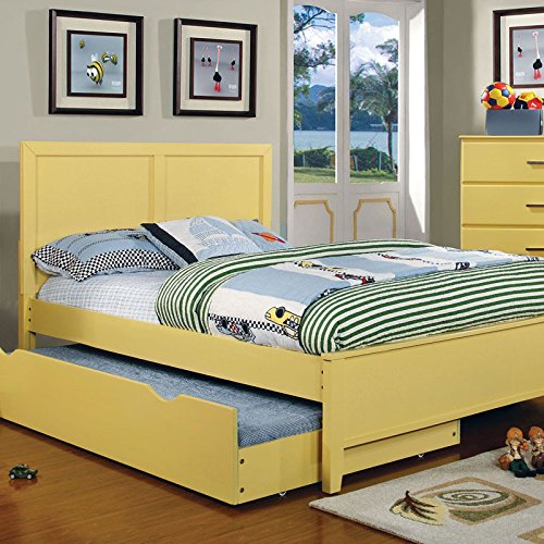 Prismo Transitional Style Yellow Finish Twin Size Bed Frame Set by 247SHOPATHOME