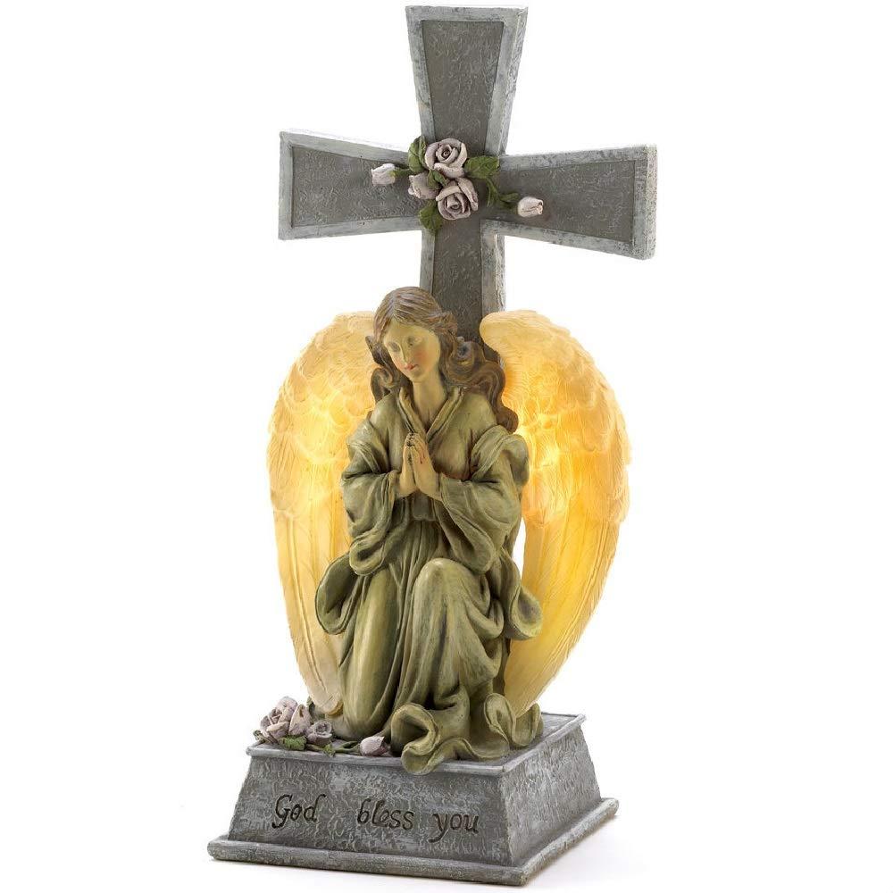 BESTChoiceForYou Solar Cross Blessed Garden Statue God Bless You Angel Cross