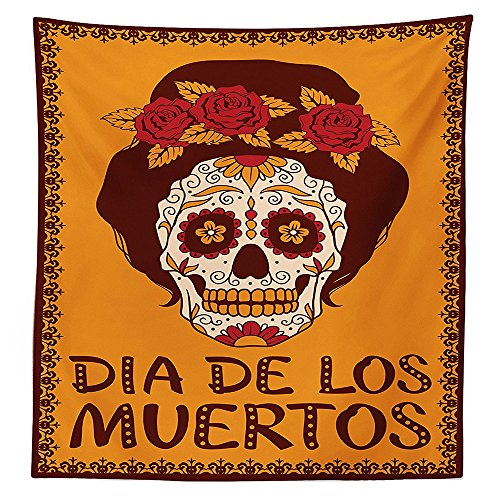 Skulls Decorations Tablecloth Frame with Mexican Skull Girl Female Hairstyle Carnival Smily Smiling Ornate Party Dance Dining Room Kitchen Rectangular Table (Corn Roll Hairstyle)