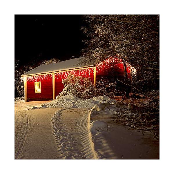 500 LED Tenda luminosa, Luci natalizie per interni e esterni,bianco Caldo con 8 modalità luce/timer, Memoria, trasformatore incluso, 17 M lunghezza- Cavo transparente 6 spesavip