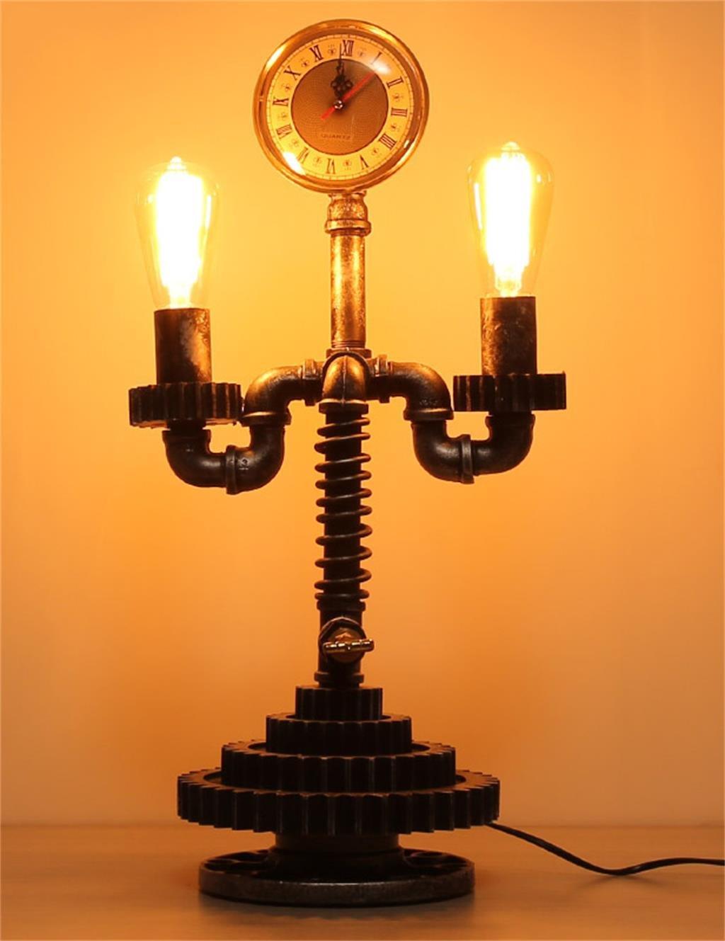 HYNH Retro Industrial Pipes Eisen-Lampe Wohnzimmer Schlafzimmer Den Shop-Tischlampe Kinder Tischlampe