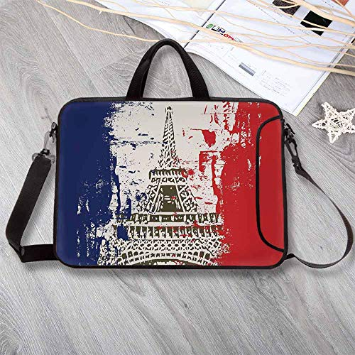 Paris Portable Neoprene Laptop Bag,Grunge Style French Flag with Eiffel Tower City of Love in Retro Colors Europe Laptop Bag for Travel Office School,13.8