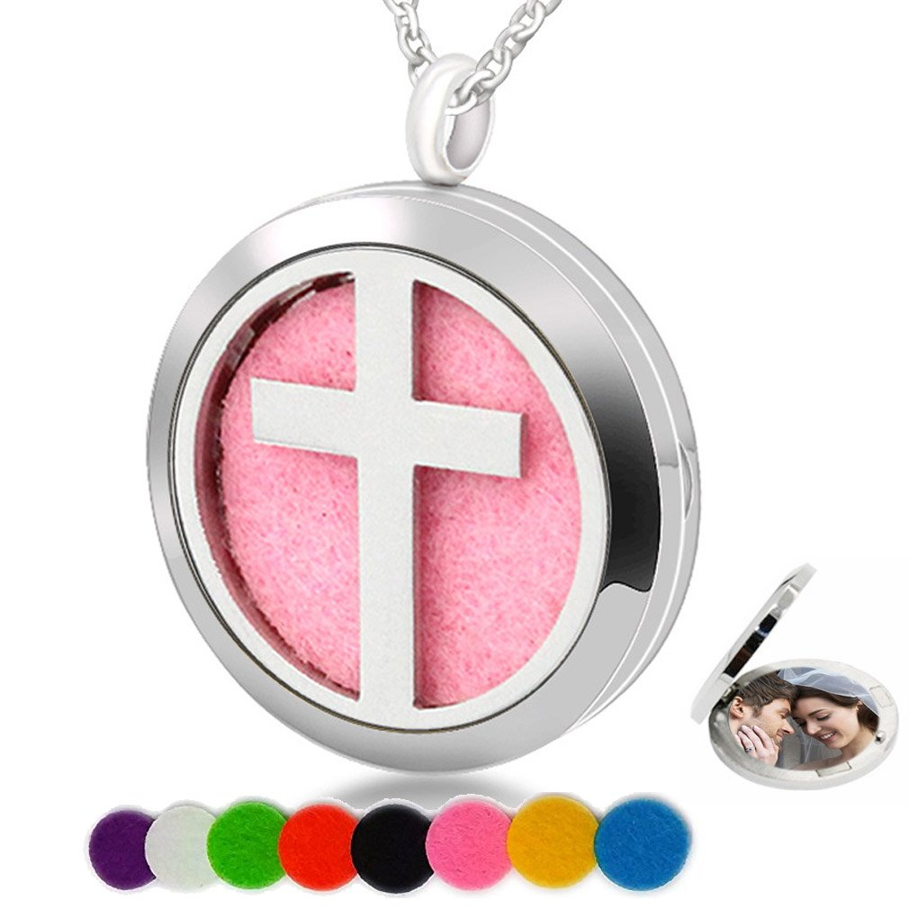 Chaomingzhen Essential Oil Necklace Aromatherapy Diffuser Cross Jesus Round Stainless Steel Picture Locket Pendant Mom