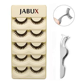 13ae4fda2f7 Amazon.com : JABUX 5 Pairs Black Long Thick Handmade Messy False Eyelashes  Voluminous Reusable Fake Eye Lash Extension For Makeup(Free Eyelash  Applicator ...