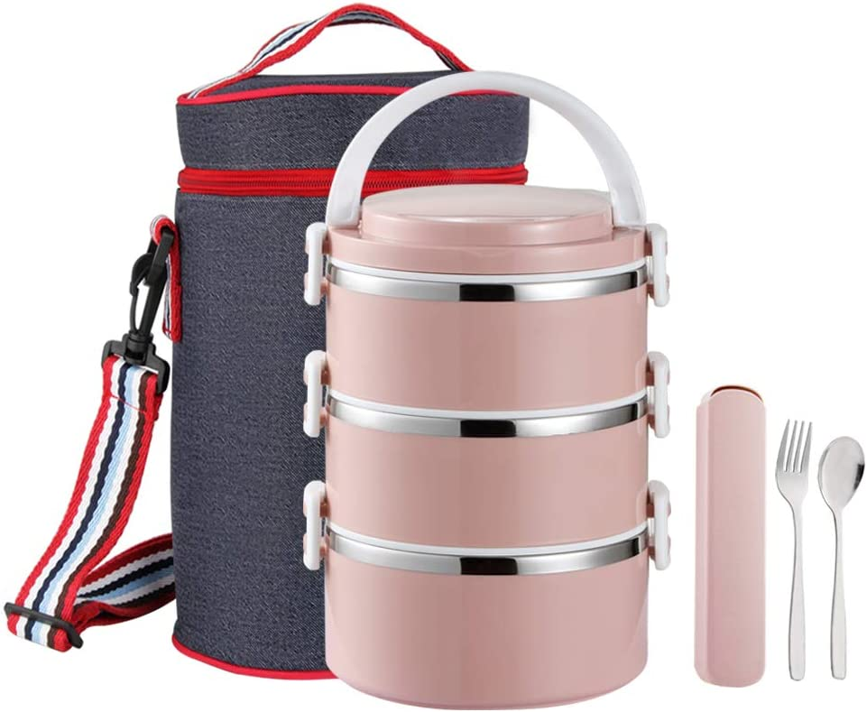 YBOBK HOME Thermal Lunch Box, Stackable Round Metal Stainless Steel Large Hot Food Bento Boxes for Adults, Lunch Container with Insulated Lunch Bag and Flatware with Case for Hot Lunch (3-Tier, Pink)