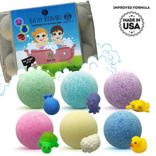Bath Bombs For Kids With Surprises Inside - 6 5.5oz Fun, Safe...