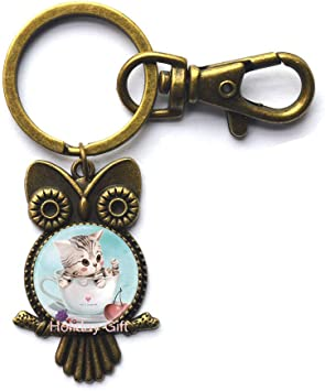 Amazon Com Milk Coffee Cup Art Picture Glass Cabochon Owl Keychain Cat Ears Key Ring Owl Keychain For S Gift Hty 185 Office Products