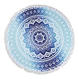 Unique Warm Blue Circle Oversized Beach Towels Blanket With Tassels Sunscreen Shawl Wrap Skirt 59 inch