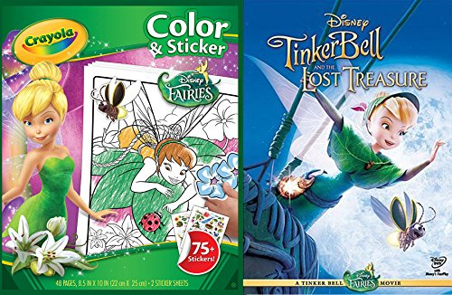 Fairies Activity & Disney Movie Set DVD Tinkerbell and the Lost Treasure + Crayola Color & Sticker Fun Pack