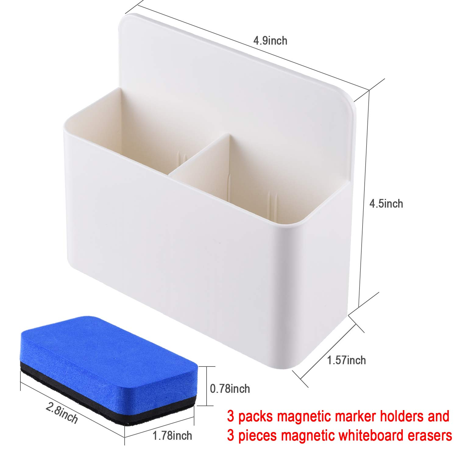 Bonus: 3 Pcs Magnetic Whiteboard Erasers SIQUK 3 Packs Magnetic Marker Holder Whiteboard Marker Organiser Magnetic Pen Holder Dry Erase Organizer for Whiteboard