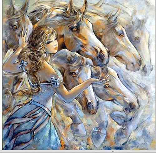 DIY ダイヤモンドペインティング 女の子 庭 馬 フルスクエア ダイヤモンド 刺繍 クロスステッチ ラインストーン モザイク 壁ステッカー デコレーション 40X50 cm フレームレス B07PHGXTK7