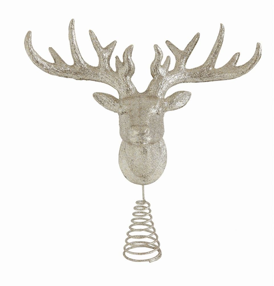 Heart of America Plastic Deer Head Tree Topper With Silver Glitter - 3 Pieces by Heart of America