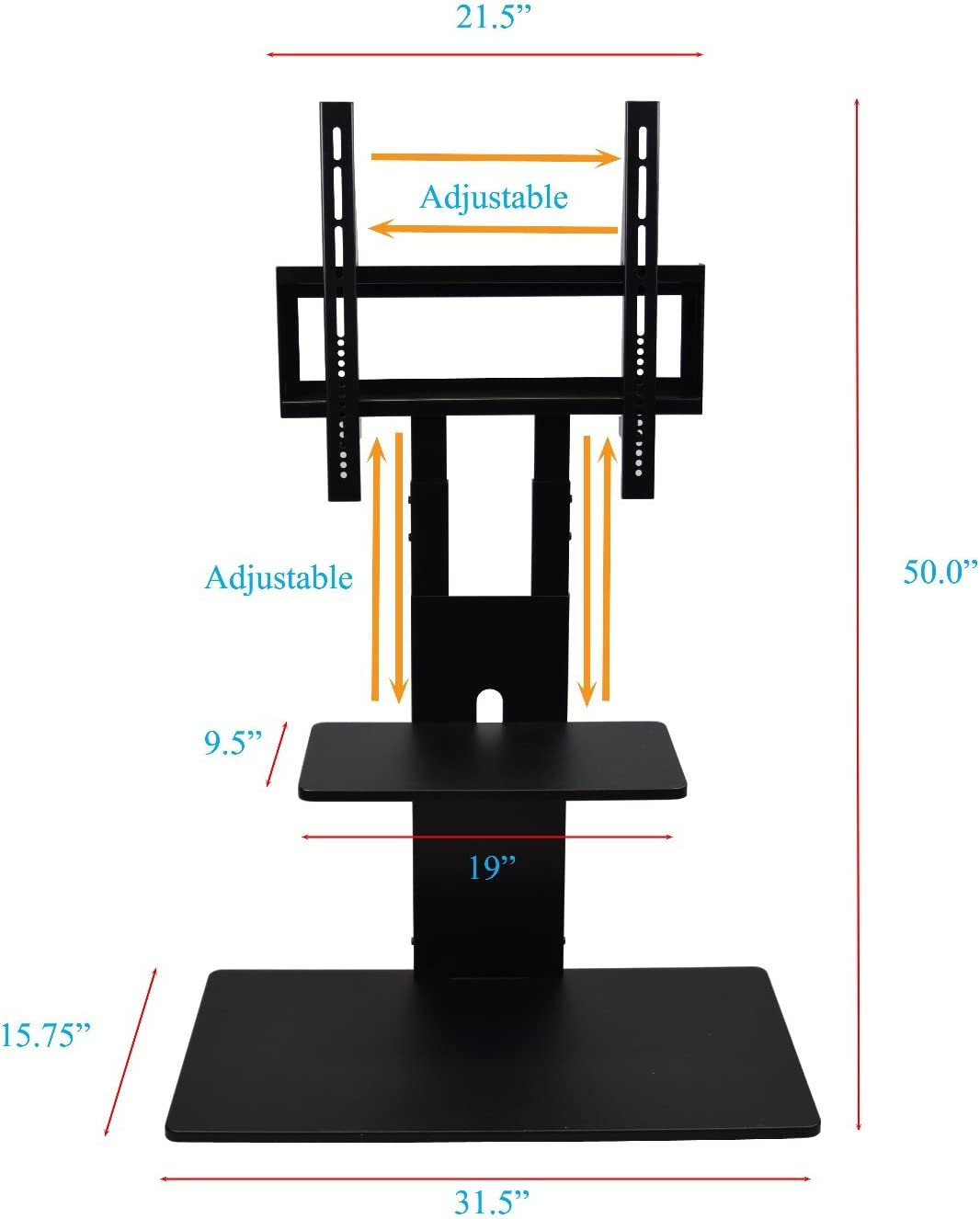 Black Proman Products Modern TV Stand With With Adjustable Mount and Two Shelves