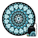 Ricdecor Round Beach Towel Large Mandala Beach Towel Blanket with Tassels Ultra Soft Super Water Absorbent Multi-Purpose Beach Throw 59 inch across By (NO.60)