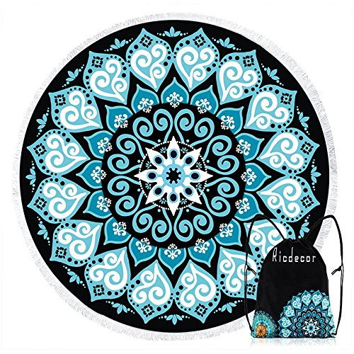 Ricdecor Round Beach Towel Large Mandala Beach Towel Blanket with Tassels Ultra Soft Super Water Absorbent Multi-Purpose Beach Throw 59 inch Across ()