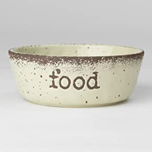 PetRageous 15018 Crockery Stoneware Food Dog Bowl with 4 Cup Capacity 6.5 Inch Diameter by 2.25 Inch Tall Great for Medium and Large Sized Dogs and Cats, Natural Speckled