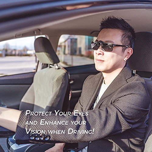 ElementsActive Polarized Clip-on Driving Sunglasses with Flip Up Function, Anti-Reflective Anti-Glare UV400 UV Protection, Large Size Lens