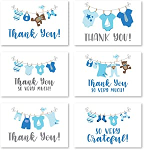24 Blue Clothesline Baby Shower Thank You Cards With Envelopes, Boy Sprinkle Thank-You Note, 4x6 Gratitude Card Gift For Guest Pack, Gender Reveal DIY So Grateful Varied Little Onesie Event Stationery