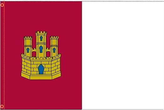 Durabol Bandera de Castilla la Mancha Comunidades autónomas de España 60 * 90 cm Satin 2 Anillas metálicas fijadas en el Dobladillo (Castilla Mancha): Amazon.es: Jardín