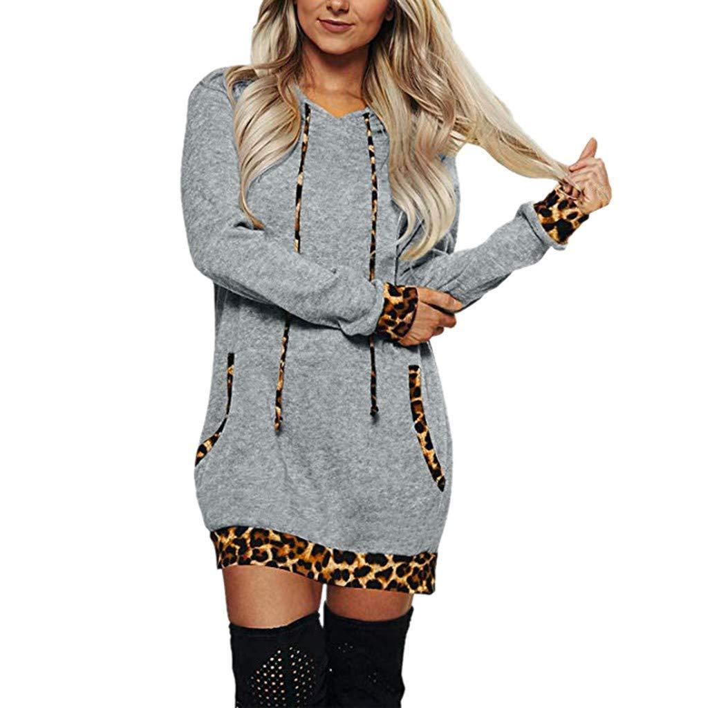 Exteren Women Elegant Leopard Pullover Long Sleeve Tops Crew Neck Color Block Tunics Casual Shirt Gray