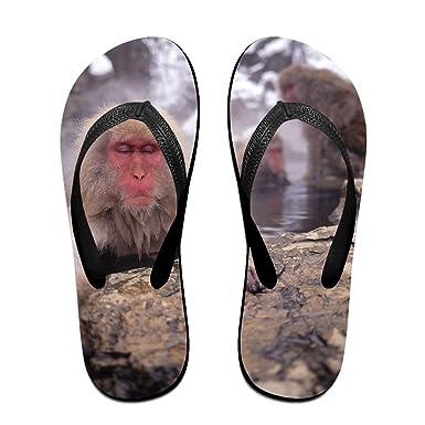 0e57344e0940b Amazon.com  Couple Flip Flops Japanese Snow Monkeys Print Chic Sandals  Slipper Rubber Non-Slip House Thong Slippers  Clothing