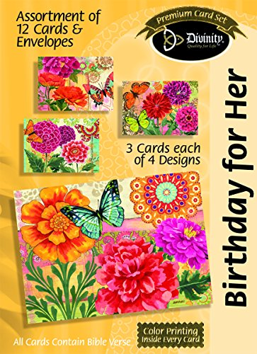 Divinity Boutique Greeting Card Assortment: Birthday for Her, Butterfly Blooms with Scripture (21709N)