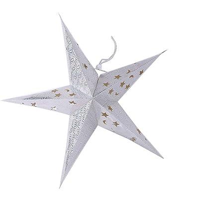 Gladle Abat-jour lanterne en papier Star Pour la fête de mariage de Noël Argent, 60CM