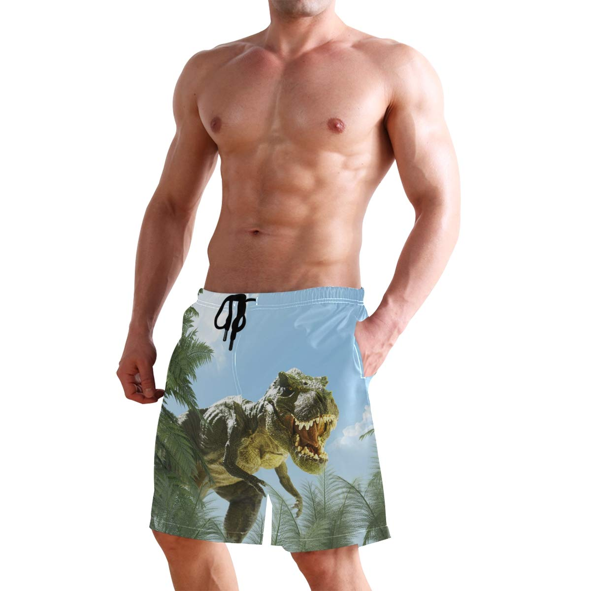 AUUXVA Mens Swim Trunks Animal Dinosaurs Palm Tree Quick Dry Beach Shorts Summer Surf Board Shorts