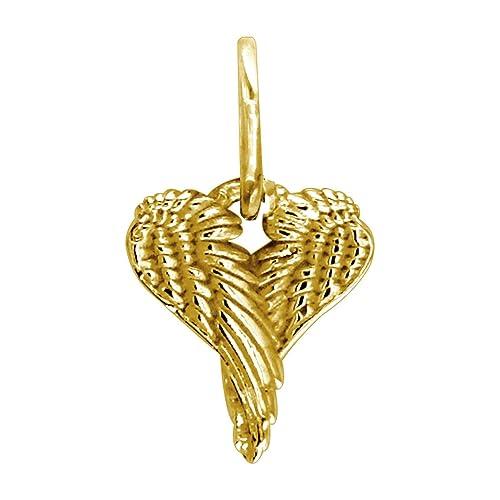 Mini ángel Corazón Alas Alas De Amor 12 Mm En 14 K Oro Amarillo