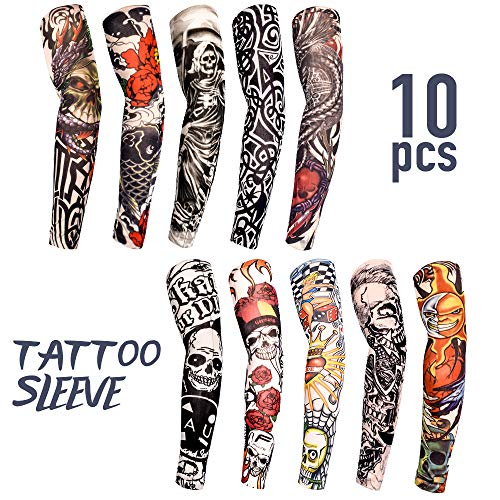 Tattoo Sleeves for Men Women,10 Pcs Arm Sleeves,Fake Piercings Temporary Tattoos Cover Up Sleeves,The Girl with The Dragon Tattoo (Best Sleeve Tattoos In The World)