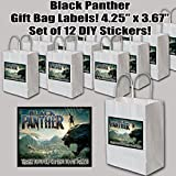 """Black Panther Movie Stickers Party Favors Supplies Decorations Gift Bag Label STICKERS ONLY 3.75"""" x 4.75"""" -12 pcs"""