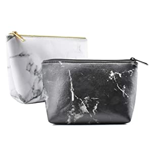 INSMART Marble Cosmetic Makeup Bags, Women's Hand-held Cosmetic Pouch Toiletry Travel Case Organizer - Waterproof & Portable