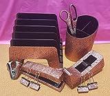 Rose Gold Office Supplies: Rose Gold Glitter Desk Stapler, Tape Dispenser, Scissors, 4 Binder Clips (32mm), Large Pencil Cup, Incline File Sorter, and Stapler Remover Set
