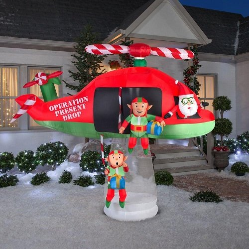 Gemmy 114.17 in. D x 57.09 in. W x 96.85 in. H Animated Inflatable Santa and Elves in Helicopter Scene by Gemmy (Image #3)