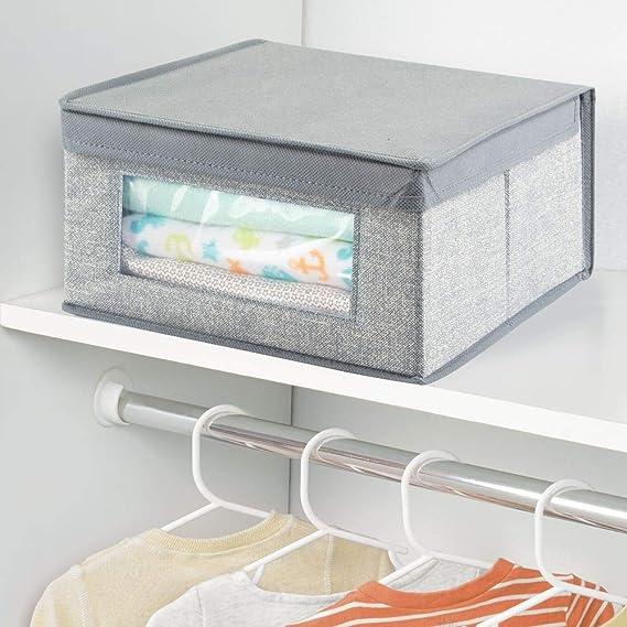 mDesign - Caja organizadora, de tela, para el armario del cuarto del bebé; guarda ropa, sábanas, toallas, baberos - mediana - Gris: Amazon.es: Hogar