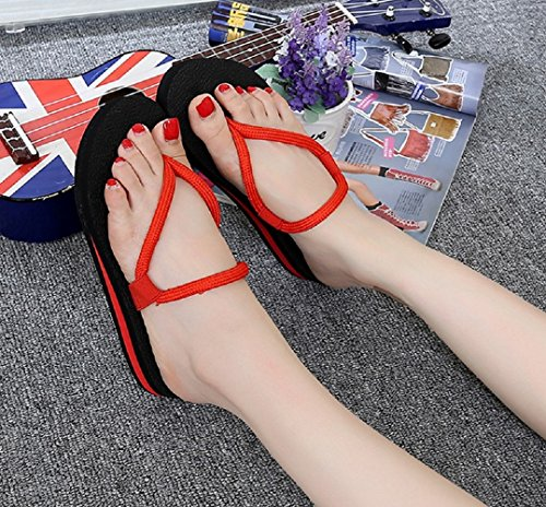 Bettyhome Femmes Sexy Bandage Confortable Tongs Occasionnels Sandales Plage Tongs Pantoufles Rouge