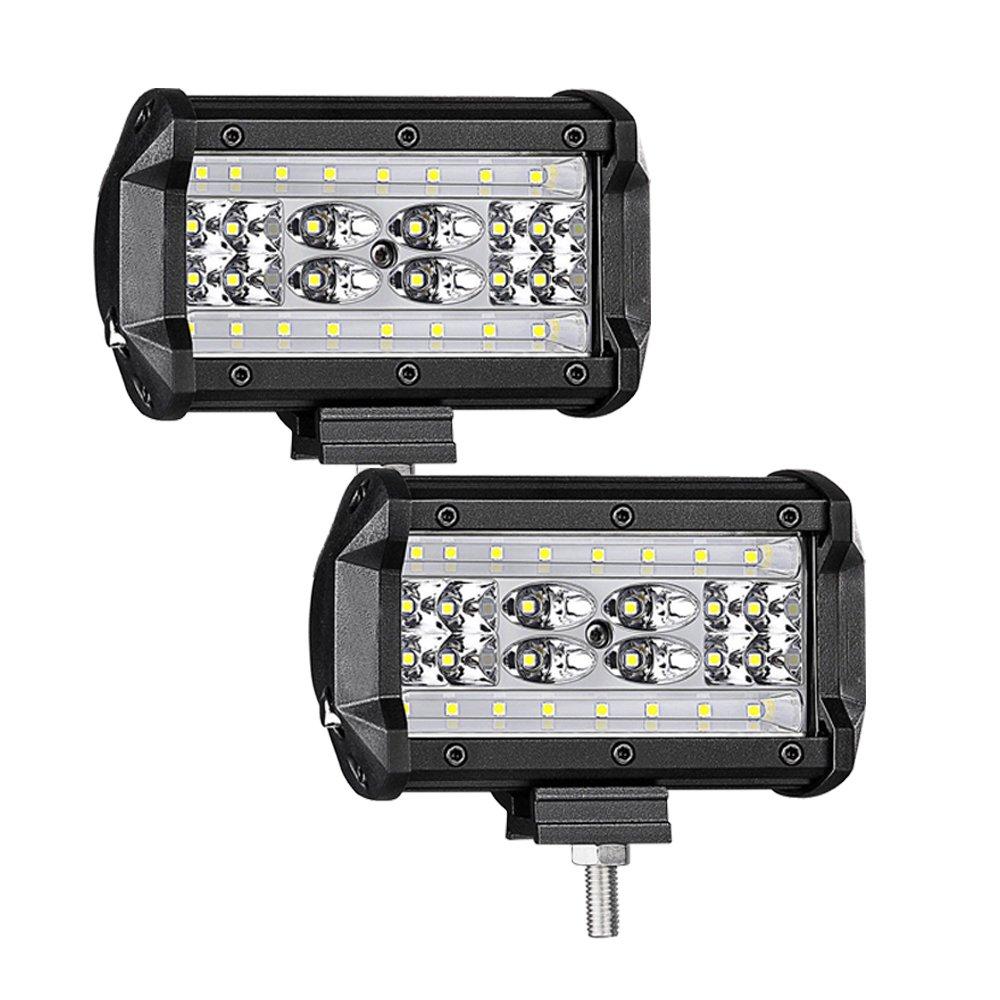 WANYI 5 Inch 84W LED Arbeitsscheinwerfer, 12V/24V 8400LM 6000K IP67 Wasserdicht Zusatzscheinwerfer Spot Flood Combo Beam (2 Stü ck)